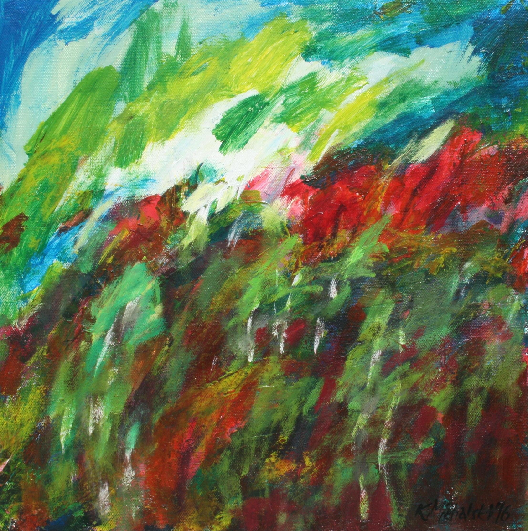 Bunter Wald, 2016, 40 x 40, Acryl auf Leinwand