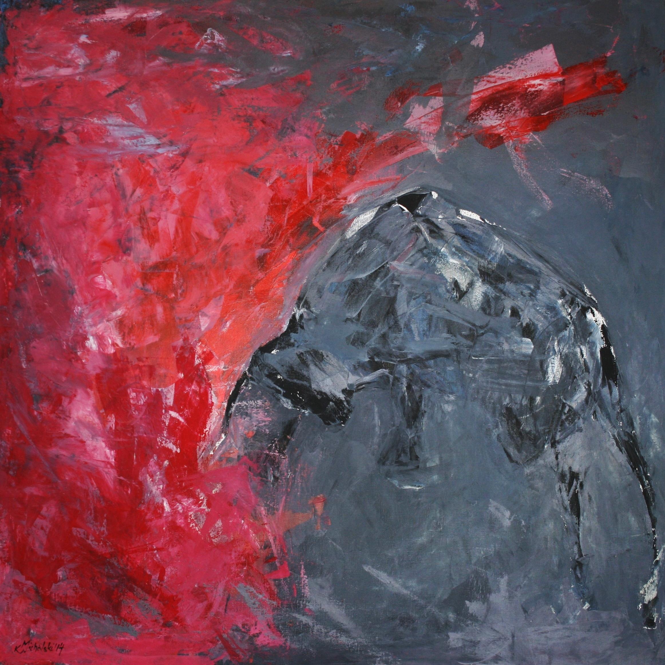Der Kampf, 2014, 100 x 100, Acryl auf Leinwand