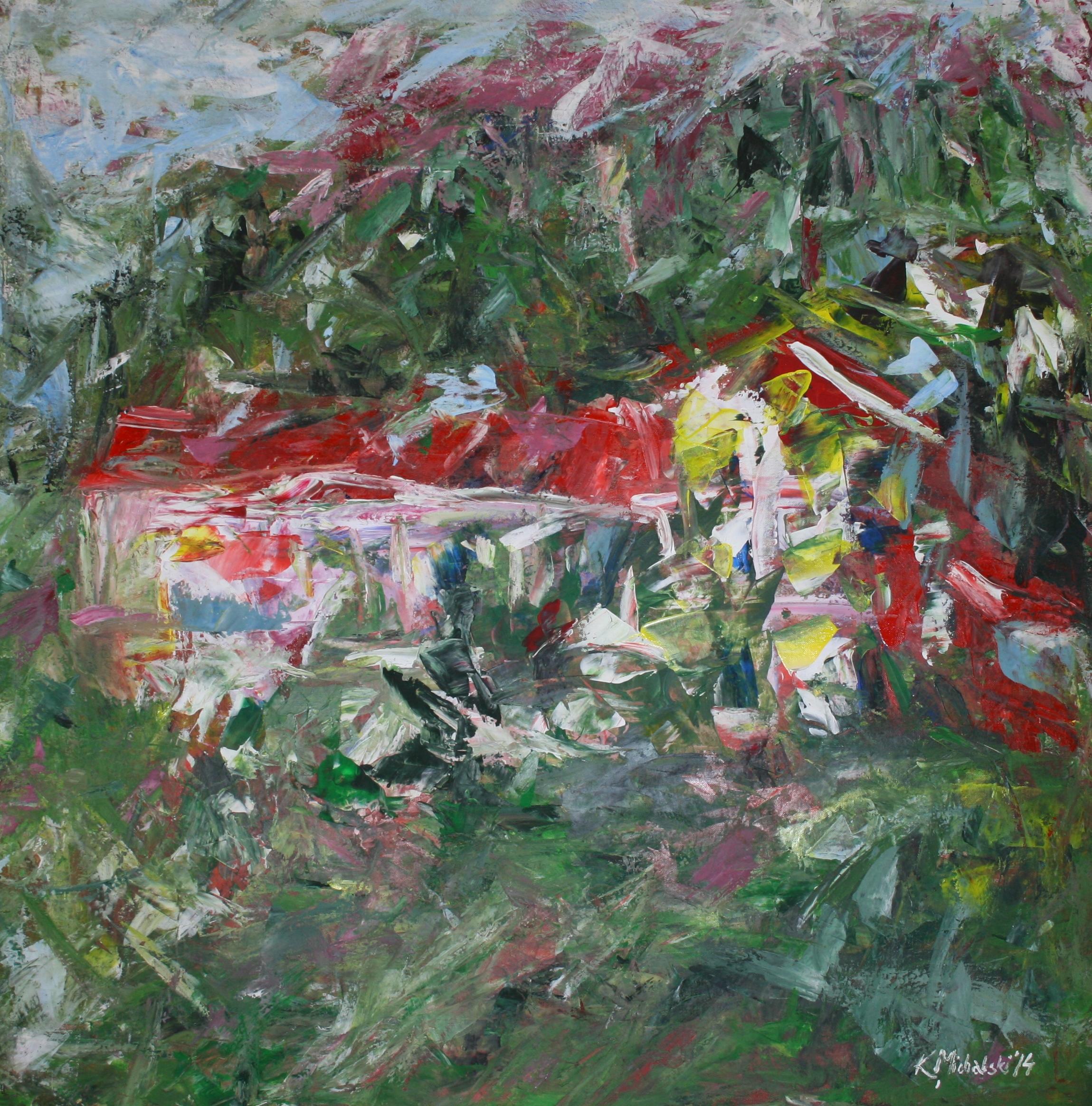 Das Haus im Grün, 2014, 100 x 100, Acryl auf Leinwand