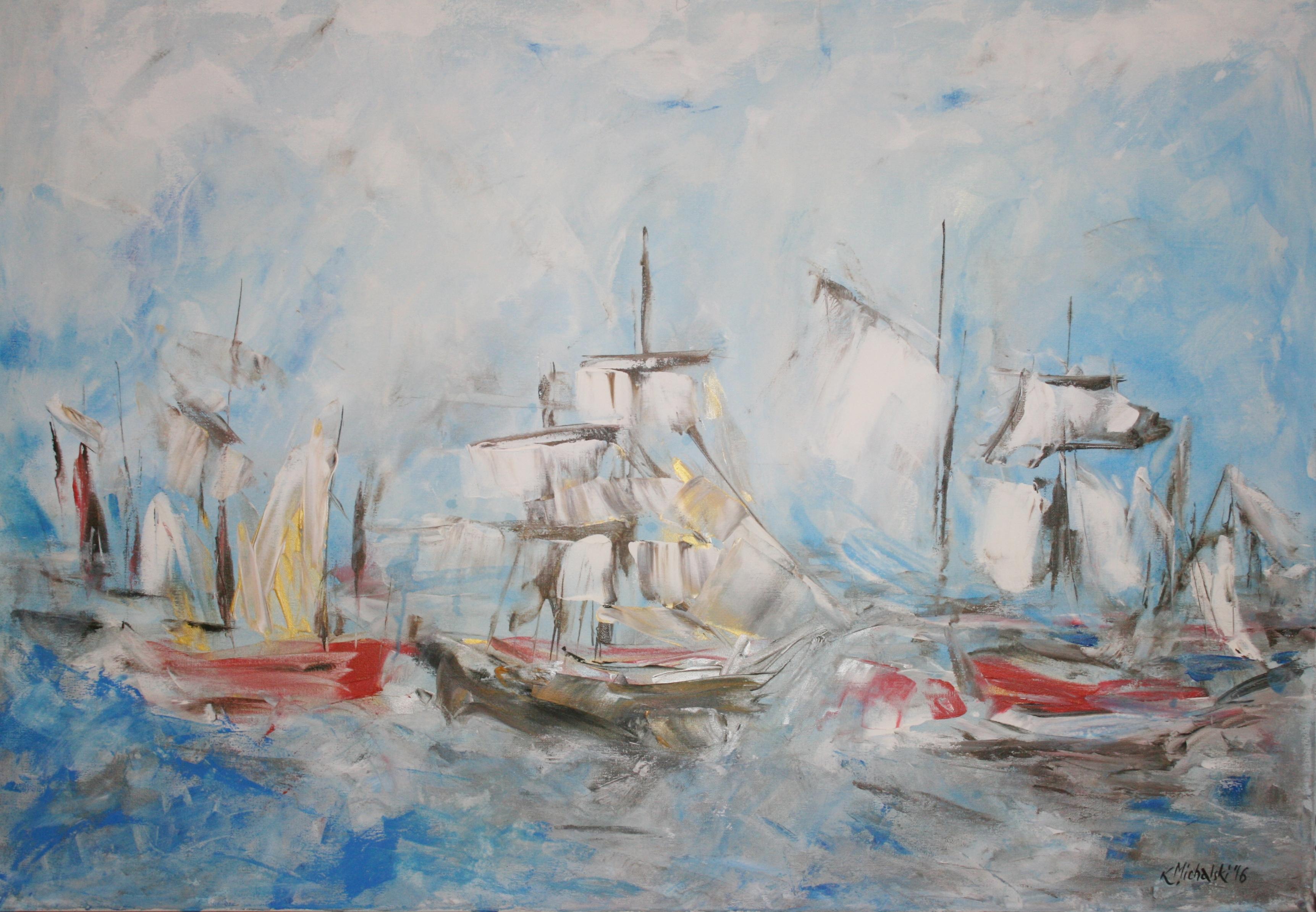 Im Hafen, 2016, 70 x 100, Acryl auf Leinwand