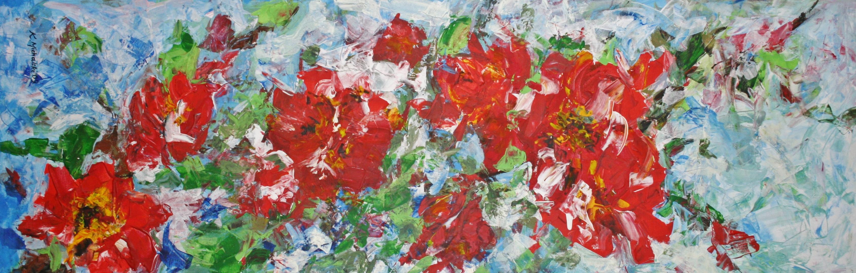 fröhlich, 2009, 120 x 40 x 3,5, Acryl auf Leinwand