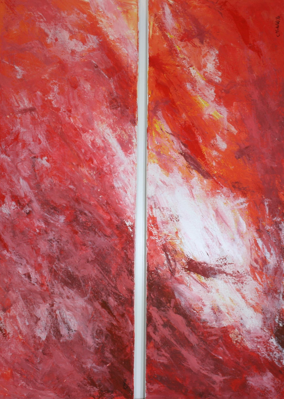 Himmel in rot, 2016, 2-teilig, 100 x 35, Acryl auf Leinwand