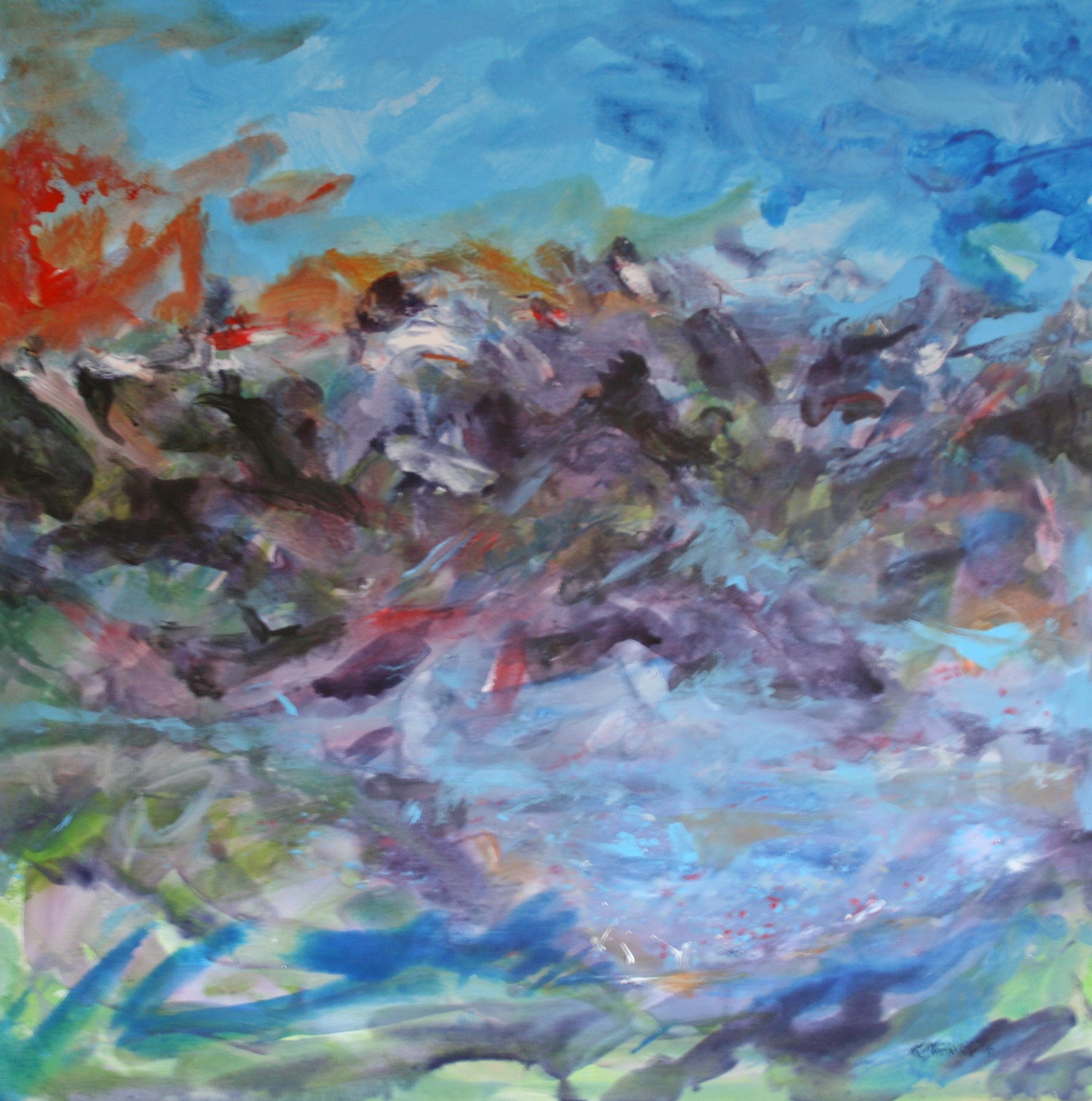 Nachts im Dorf, 2016, 100 x 100, Acryl auf Leinwand