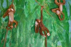 Bambuswald, 2015, 100 x 100, Acryl und Affen auf Leinwand