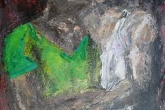 Das Paar, 2015, 100 x 70, Acryl und Stoff auf Leinwand