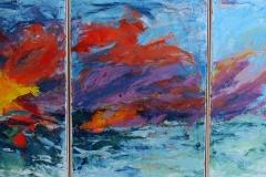 Die Göttin geht baden, drei Teile, 70 x 50, Acryl auf Leinwand